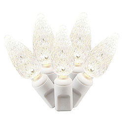 50 Commercial Grade LED C6 Warm White Wedding Lights White Wire Polybag