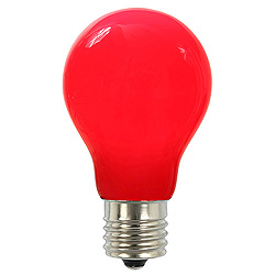 25 A19 LED Red Ceramic Retrofit Replacement Bulb E26 Nickle Base