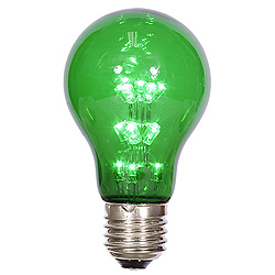 25 A19 LED Green Transparent Retrofit Replacement Bulb E26 Nickle Base