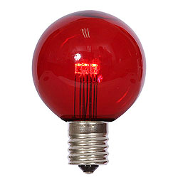 25 LED G50 Globe Red Transparent Retrofit C9 Socket Replacement Bulbs
