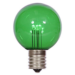 25 LED G50 Globe Green Transparent Retrofit C9 Socket Replacement Bulbs
