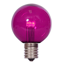 25 LED G50 Globe Purple Transparent Retrofit C9 Socket Replacement Bulbs