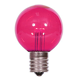25 LED G50 Globe Pink Transparent Retrofit C9 Socket Replacement Bulbs
