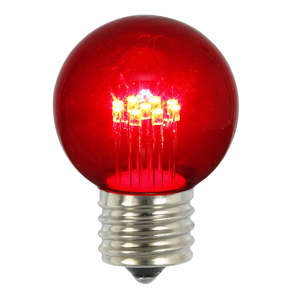 5 LED G50 Globe Red Transparent Retrofit E26 Socket Replacement Bulbs