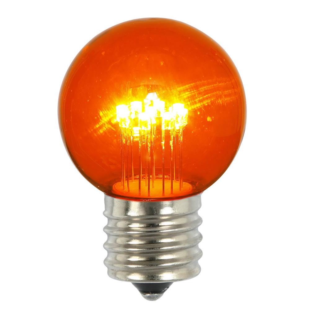5 LED G50 Globe Amber Transparent Retrofit E26 Socket Replacement Bulbs