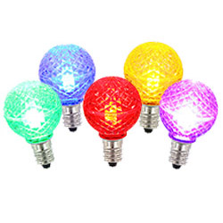 5 LED G40 Globe Multi Color Faceted Retrofit C7 Socket Replacement Bulbs