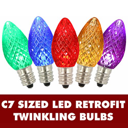 25 LED C7 Multi Color Twinkle Faceted Night Light Retrofit Replacement Bulbs