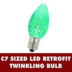 25 LED C7 Green Twinkle Faceted Night Light Retrofit Replacement Bulbs