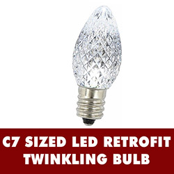 25 LED C7 Cool White Twinkle Faceted Night Light Retrofit Replacement Bulbs