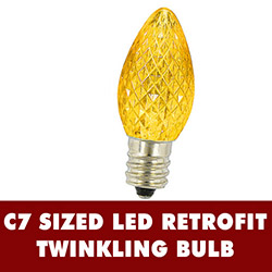 25 LED C7 Gold Twinkle Faceted Night Light Retrofit Replacement Bulbs