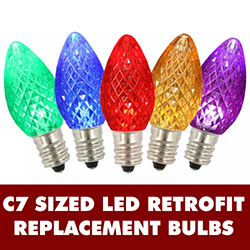 25 LED C7 Multi Color Faceted Retrofit Night Light String Replacement Bulbs