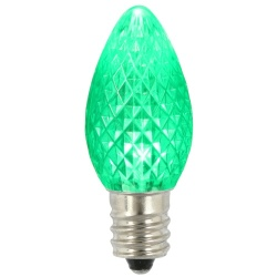 25 LED C7 Green Faceted Retrofit Night Light String Replacement Bulbs