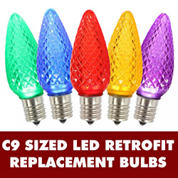 25 LED C9 Multi Color Faceted Retrofit Replacement Bulbs