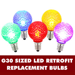 25 LED G30 Globe Multi Color Faceted Retrofit Night Light C7 Socket Replacement Bulbs