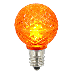 25 LED G30 Globe Orange Faceted Retrofit Night Light C7 Socket Replacement Bulbs
