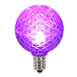 25 LED G40 Globe Purple Faceted Retrofit Night Light C7 Socket Replacement Bulbs