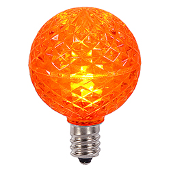 25 LED G40 Globe Orange Faceted Retrofit Night Light C7 Socket Replacement Bulbs
