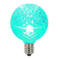25 LED G40 Globe Teal Faceted Retrofit Night Light C7 Socket Replacement Bulbs