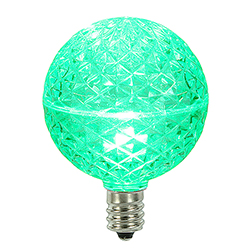 10 LED G50 Globe Green Faceted Retrofit C7 Socket Replacement Bulbs