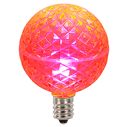10 LED G50 Globe Pink Faceted Retrofit C7 Socket Replacement Bulbs