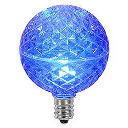 10 LED G50 Globe Blue Faceted Retrofit C9 Socket Replacement Bulbs