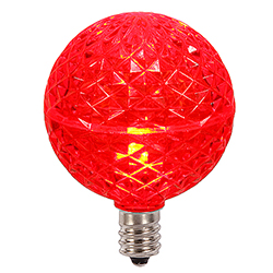 10 LED G50 Globe Red Faceted Retrofit C9 Socket Replacement Bulbs