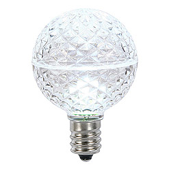 10 LED G50 Globe Cool White Faceted Retrofit C9 Socket Replacement Bulbs