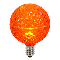 10 LED G50 Globe Orange Faceted Retrofit C9 Socket Replacement Bulbs