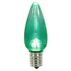 25 LED C9 Green Transparent Retrofit Replacement Bulbs