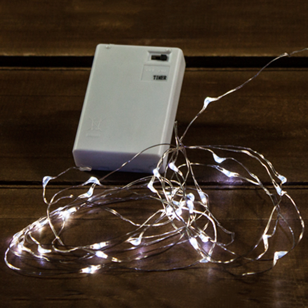 50 Battery Operated LED Micro Fairy Angel Teardrop Cool White Silver Wire String Light Set with Timer Box of 6