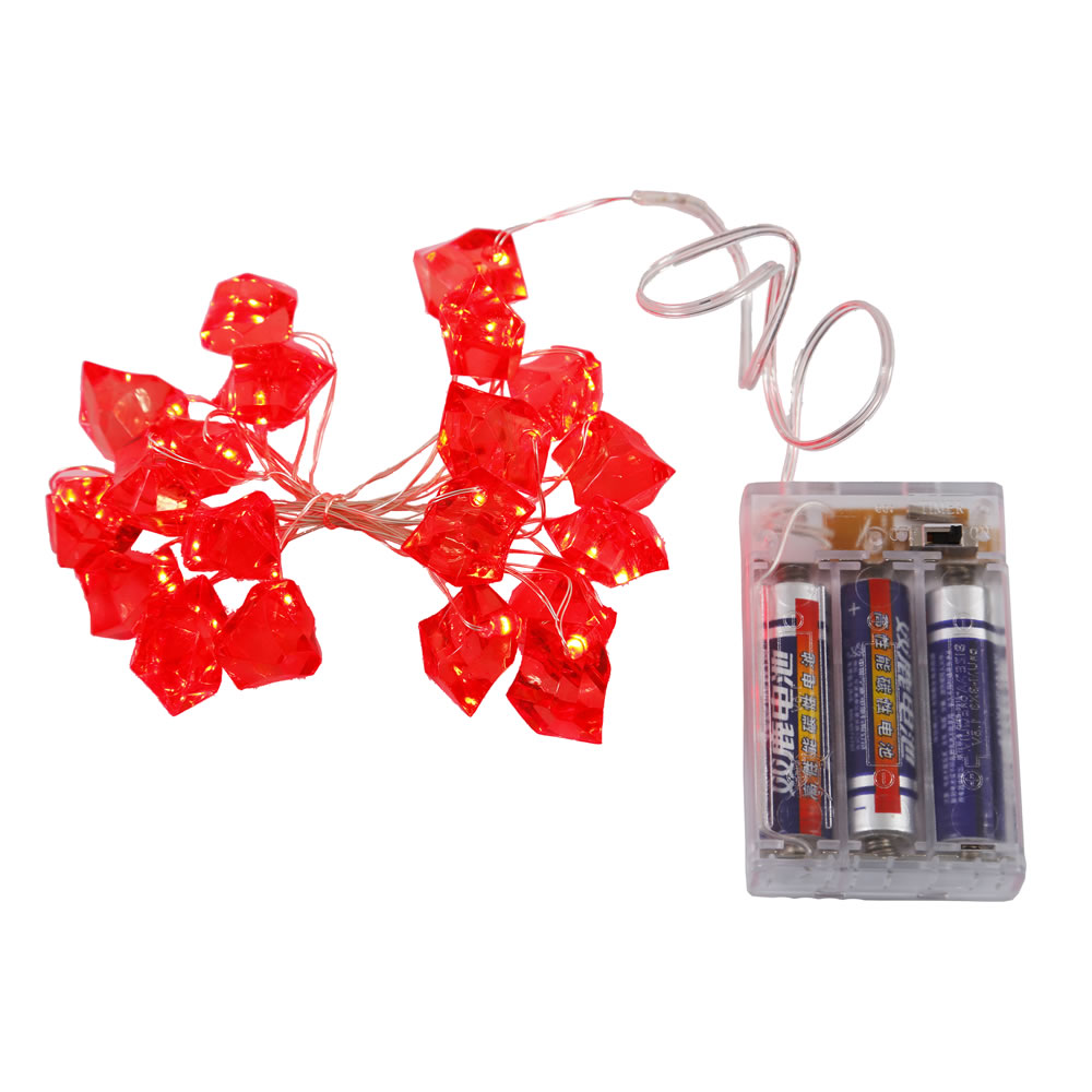 20 Battery Operated LED Ice Cube Red String Light Set 6 Hour Timer