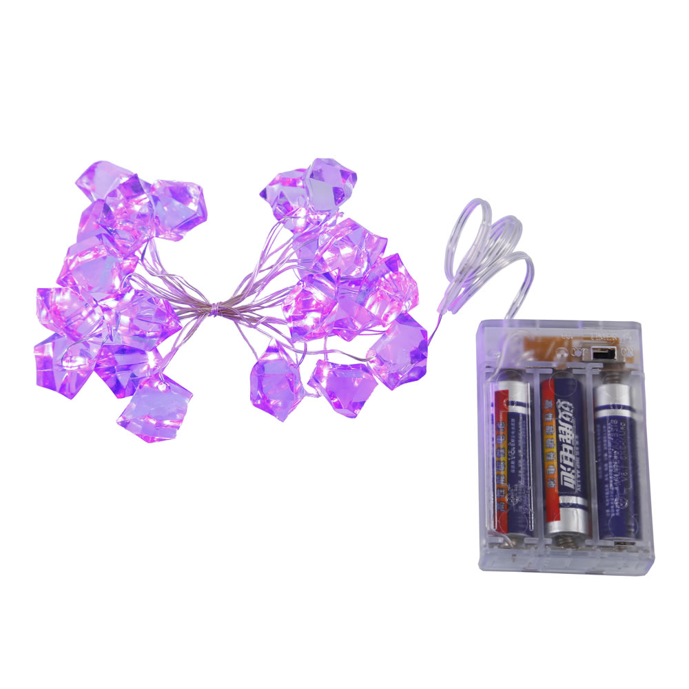 20 Battery Operated LED Ice Cube Purple Halloween String Light Set 6 Hour Timer