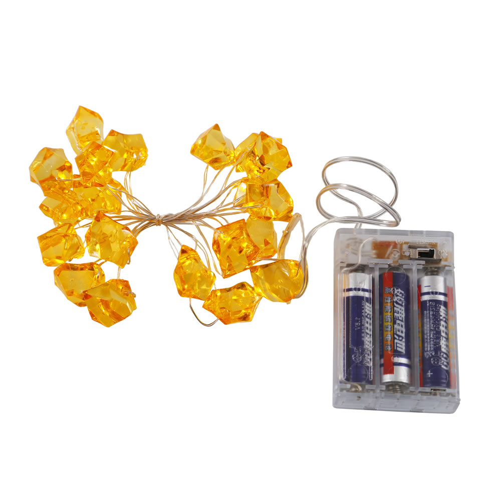 20 Battery Operated LED Ice Cube Gold String Light Set 6 Hour Timer