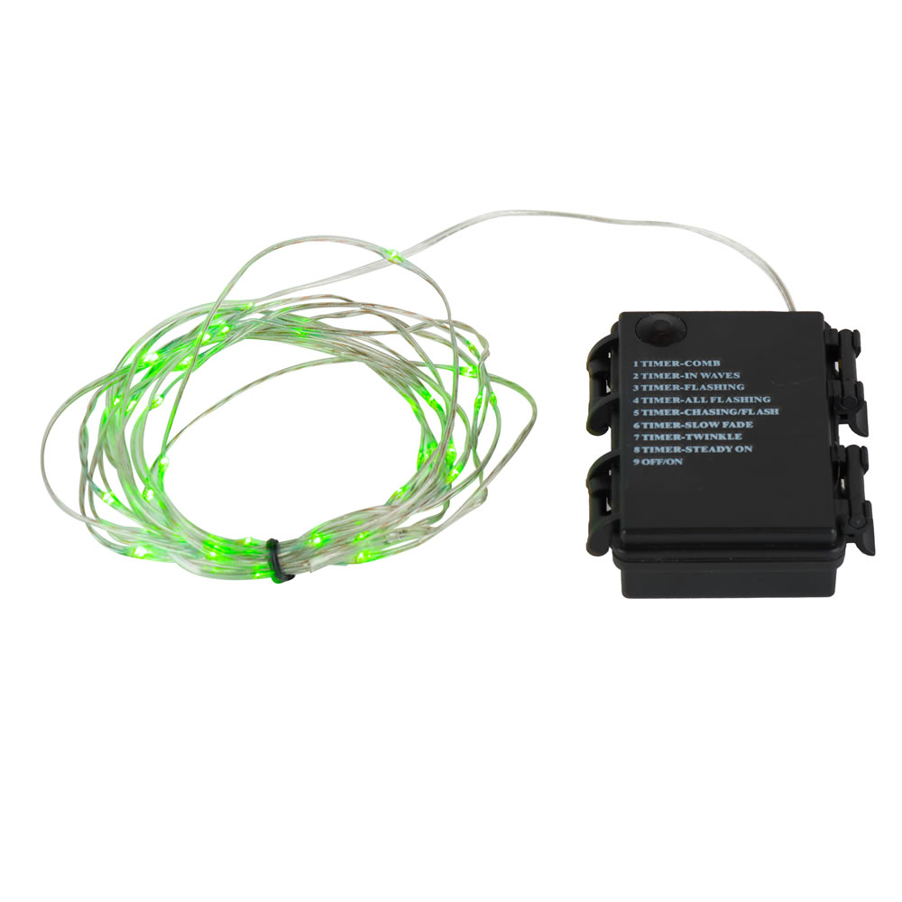 35 Battery Operated LED Green Micro String Light Set with Timer