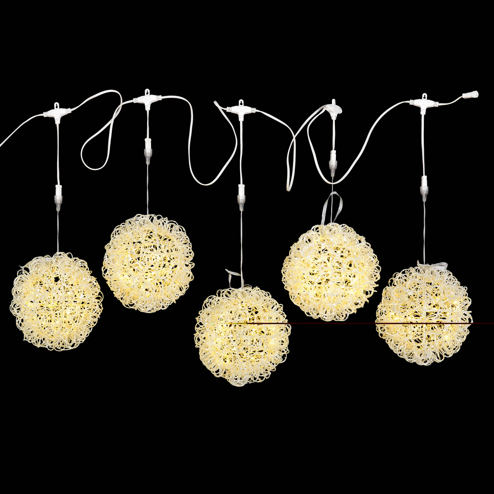 150 LED Micro Twinkle Icicle White Glitter Vine Ball Warm White String Light Set Lead Wire