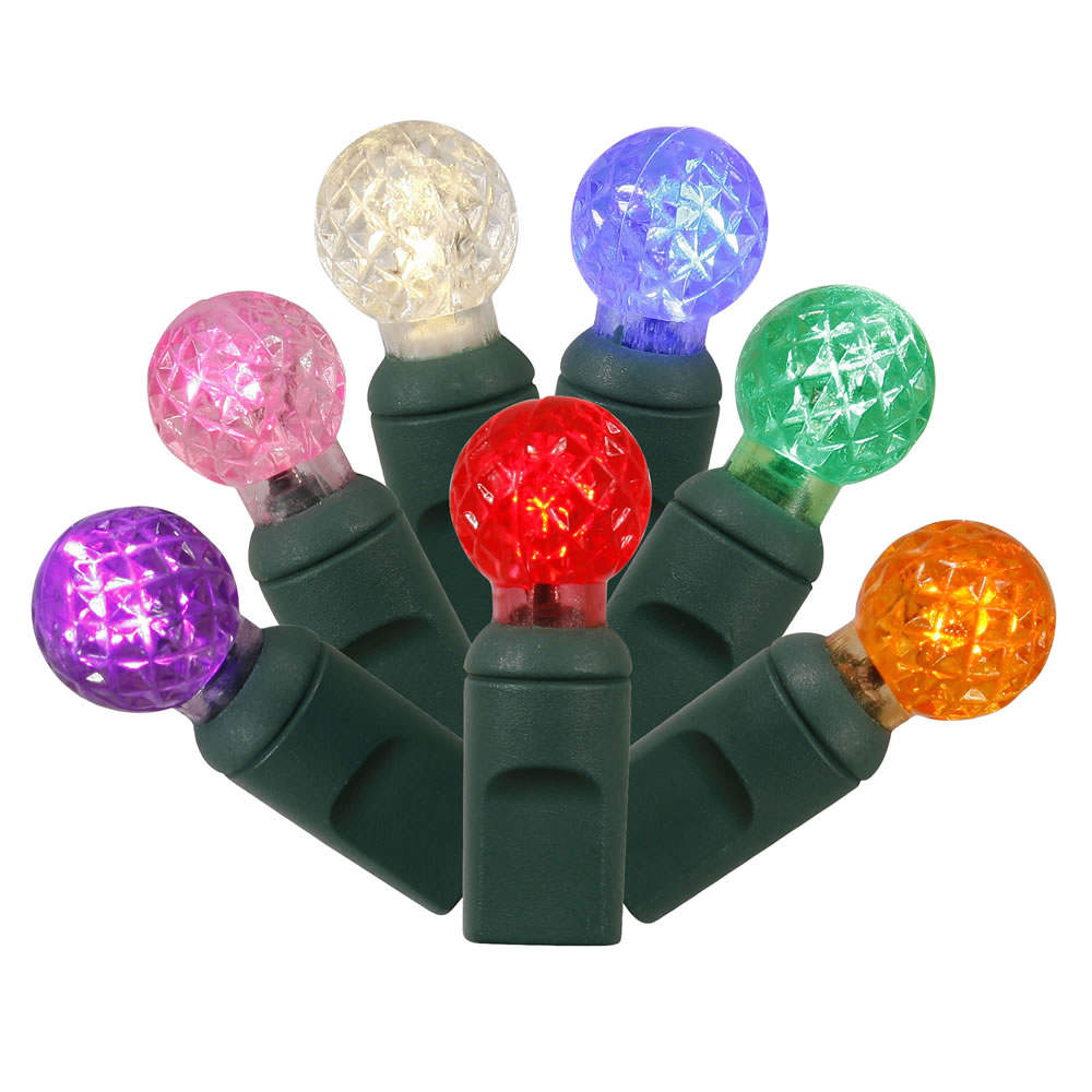 100 Commercial Grade LED G12 Berry Globe Faceted Multi Color String Light Set Green Wire