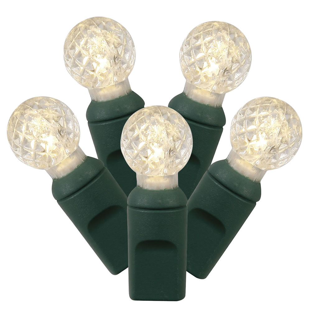 100 Commercial Grade LED G12 Berry Globe Faceted Warm White String Light Set Green Wire