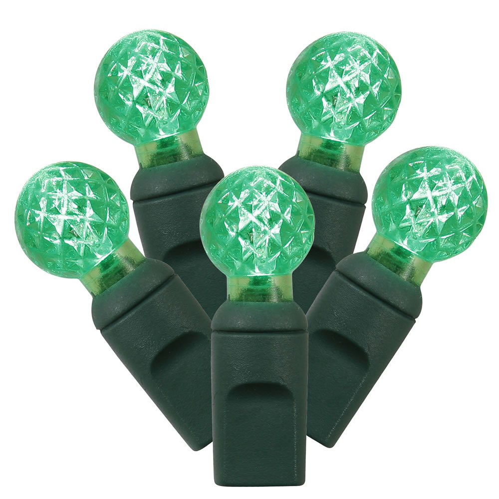 100 Commercial Grade LED G12 Berry Globe Faceted Green String Light Set Green Wire