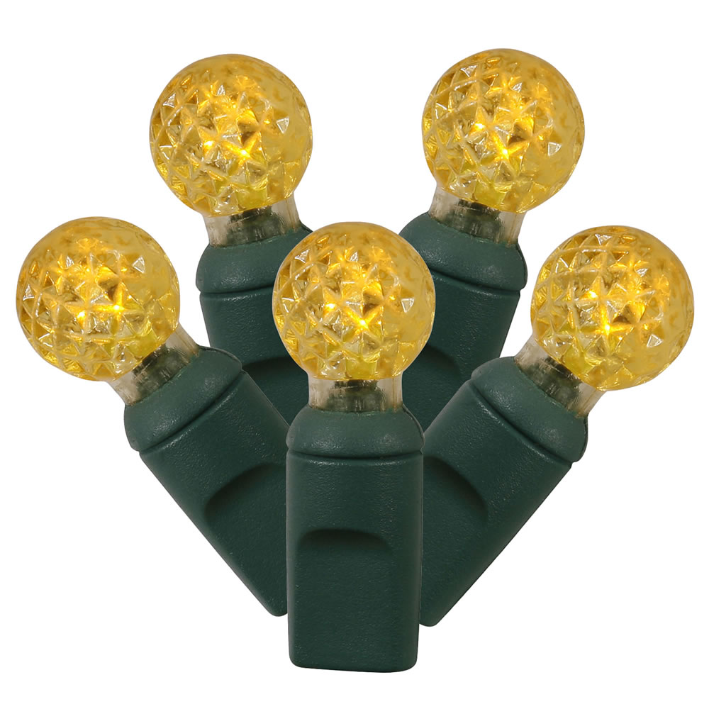 100 Commercial Grade LED G12 Berry Globe Faceted Yellow String Light Set Green Wire