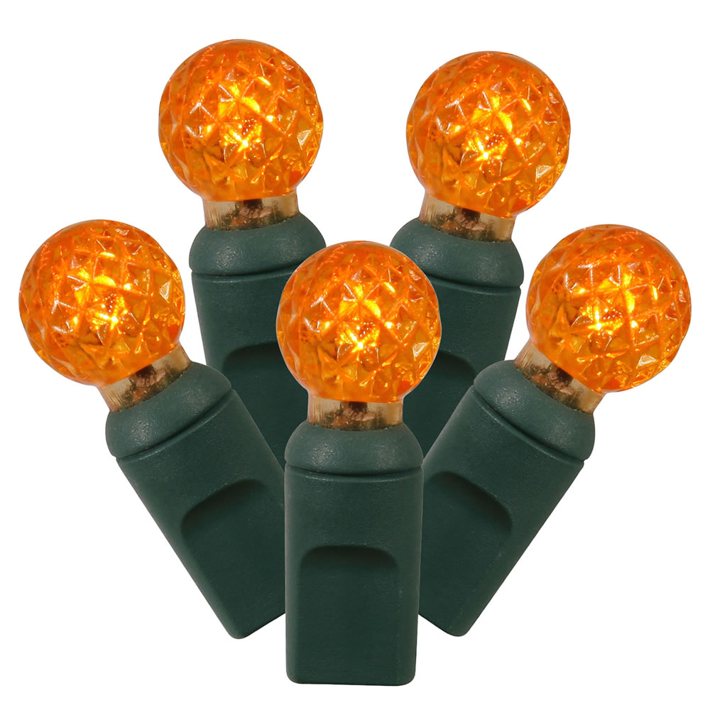 100 Commercial Grade LED G12 Berry Globe Faceted Orange Halloween String Light Set Green Wire