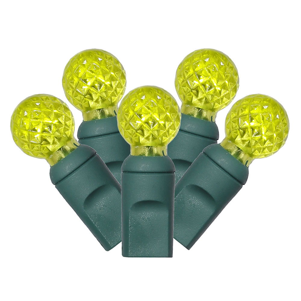 100 Commercial Grade LED G12 Berry Globe Faceted Lime Green Halloween String Light Set Green Wire