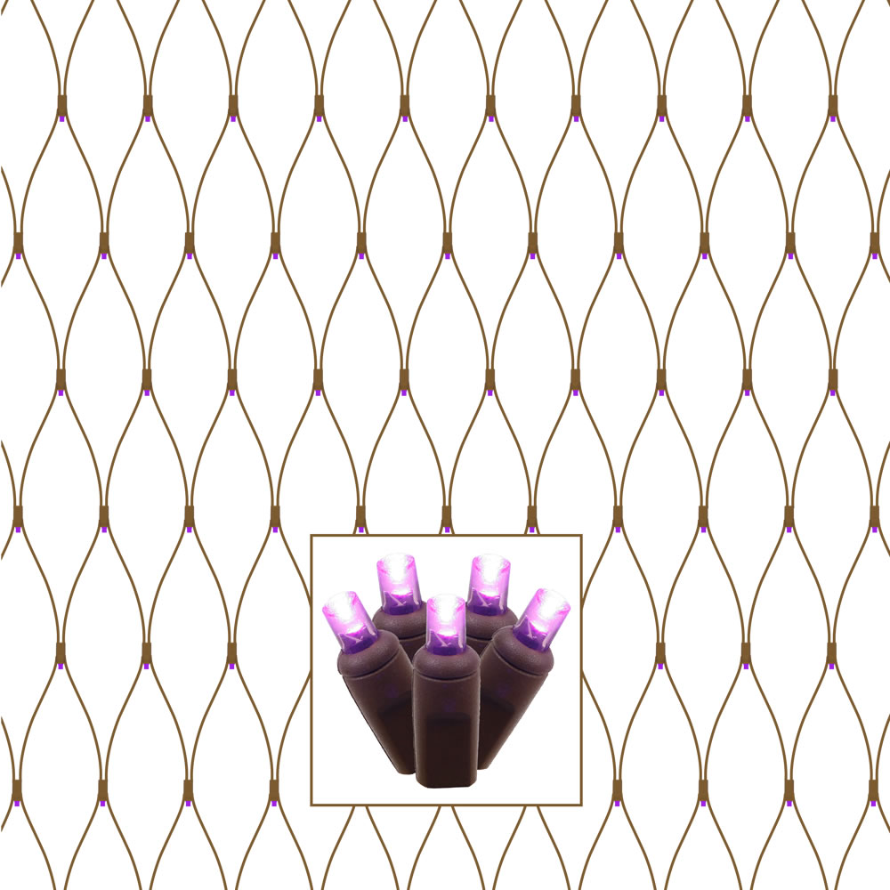 150 LED 5MM Wide Angle Purple String Net Light Set Brown Wire