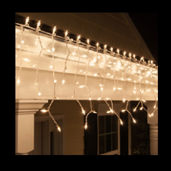 100 Incandescent Mini Clear Icicle Light Set 3 Inch Spacing White Wire
