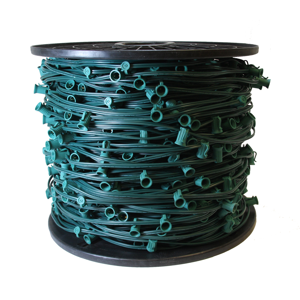 1000 Foot C7 Night Light Socket Spool String Light Cord 18 Gauge Green Wire 12 Inch Spacing