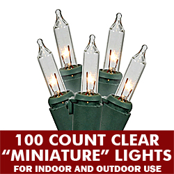 100 Incandescent Mini Clear String Light Set Green Wire