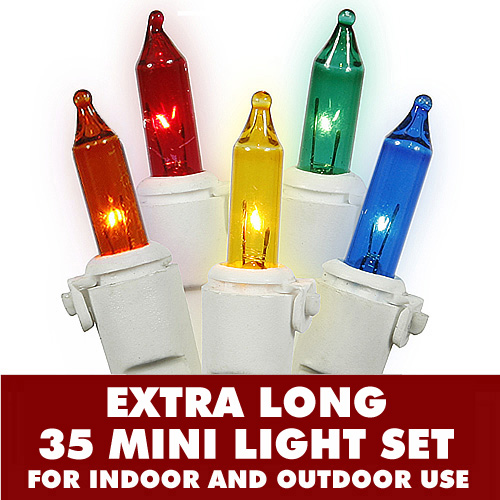 35 Multi Color Extra Long Incandescent Mini String Light Set with Lamp Locks White Wire