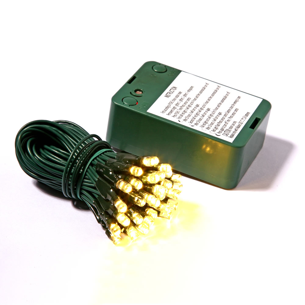 35 Battery Operated LED 5MM Wide Angle Warm White String Light Set Sensor Timer Green Wire