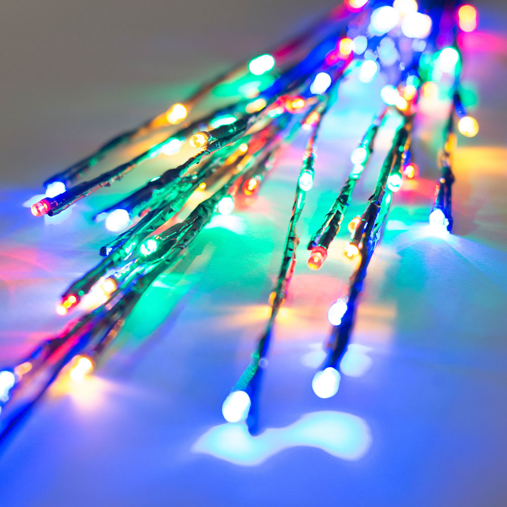 60 LED 5MM Wide Angle Multi Color Twig Lights Brown Wire - 3 per Set