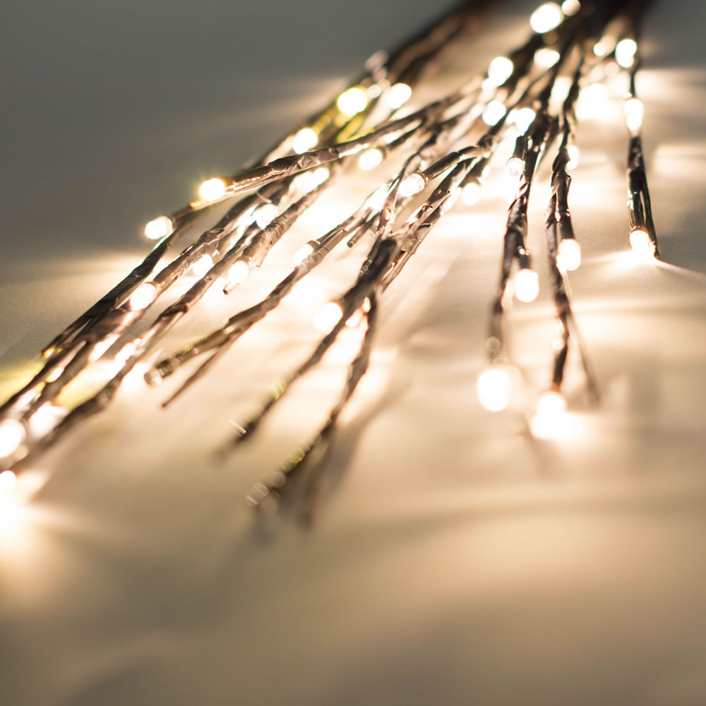 60 LED 5MM Wide Angle Warm White Twig Lights Brown Wire - 3 per Set
