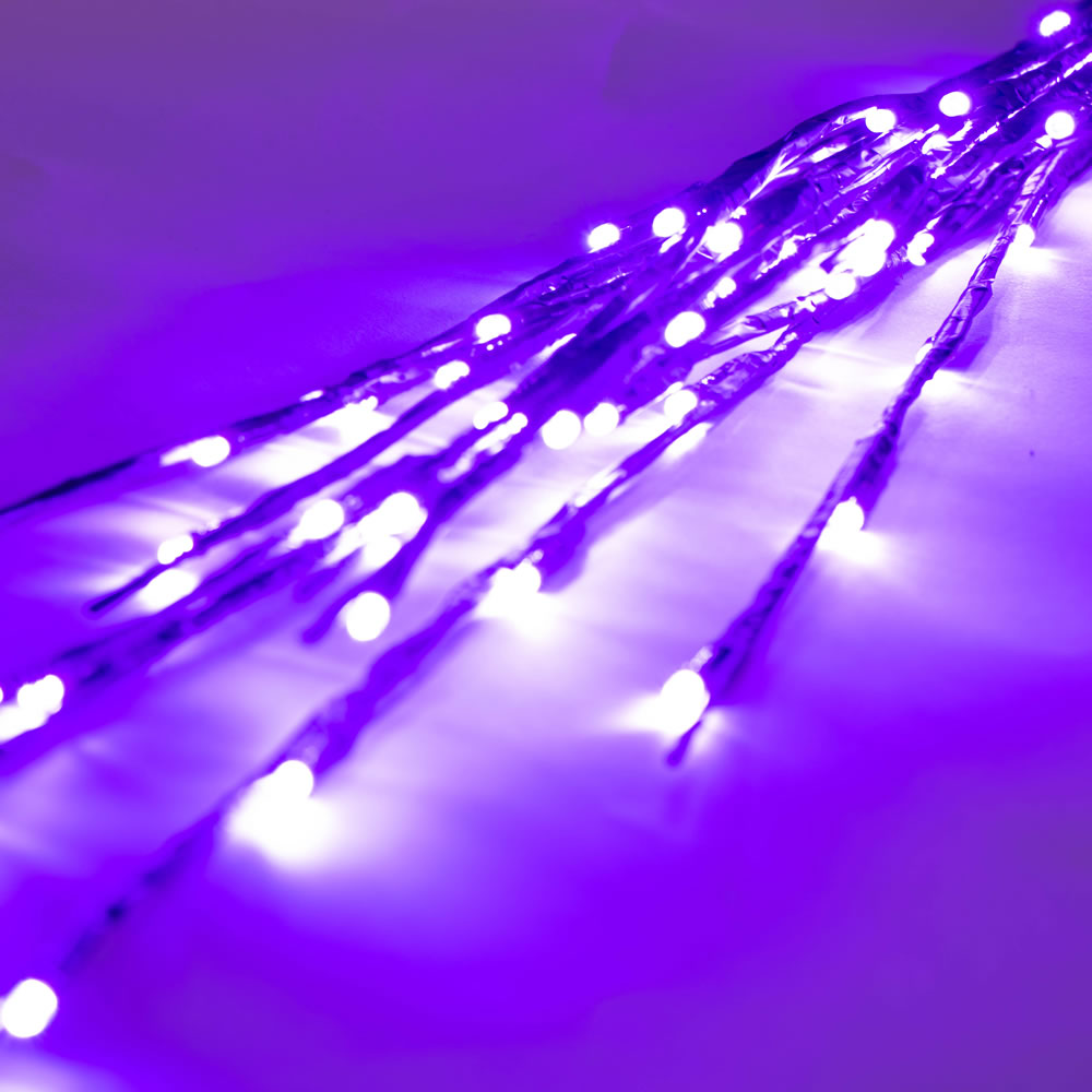 60 LED 5MM Wide Angle Purple Halloween Twig Lights Brown Wire - 3 per Set